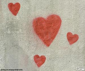 Puzzle Coeurs rouges peintes