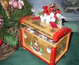 Puzzle Coffre décorées avec des thèmes de Noël