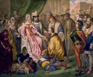Puzzle Columbus parler à la reine Isabelle Ire de Castille, dans la cour de Ferdinand et Isabelle