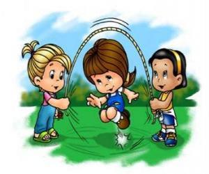 Puzzle Corde à sauter ou corde à danser jouée par des enfants