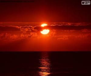 Puzzle Coucher de soleil sur la mer