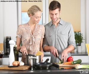 Puzzle Couple dans la cuisine