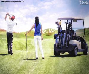Puzzle Couples jouant au golf