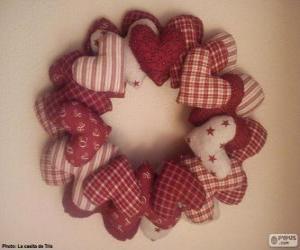 Puzzle Couronne de Noël de coeurs