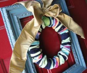 Puzzle Couronne de Noël fait avec chaussettes