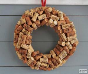 Puzzle Couronne de Noël faite avec bouchons