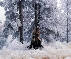 Puzzle Cowboy en montant un cheval