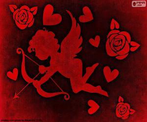 Puzzle Cupidon, les coeurs et les roses