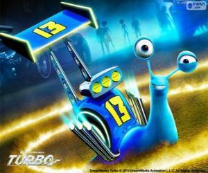Puzzle D-Rapp, l'escargot de course avec le numéro 13