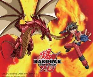 Puzzle Dan Kuso et son Bakugan Drago Pyrus tuteur