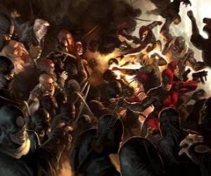 Puzzle Daredevil, L'homme sans peur est un super-héros aveugle qui a les autres sens surdéveloppés et a un sixième sens, l'écholocation