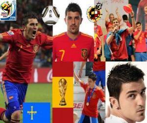 Puzzle David Villa (but de l'Espagne) attaquant de l'équipe nationale Espagnol