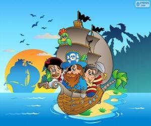 Puzzle Dessin de bateau de pirate