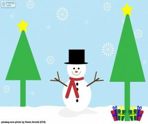 Puzzle Dessin de bonhomme de neige