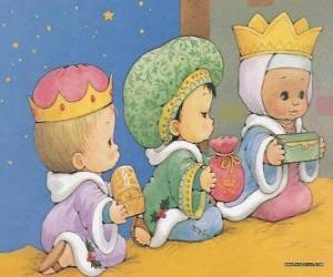 Puzzle Dessin de trois enfants déguisés en Rois Mages d'Orient