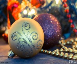 Puzzle Deux élégantes boules Noël