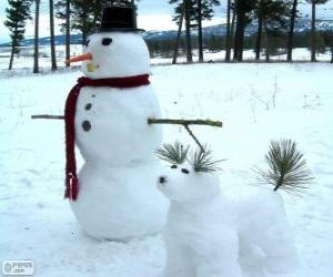 Puzzle Deux bonhommes de neige