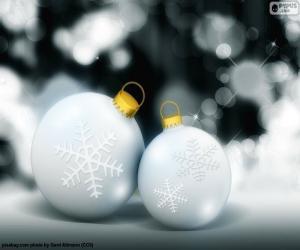 Puzzle Deux boules blanches Noël