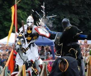 Puzzle Deux chevaliers à cheval participant à un tournoi