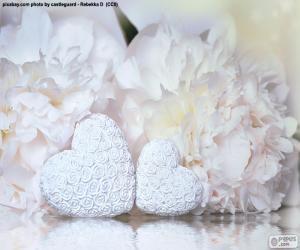 Puzzle Deux coeurs blancs