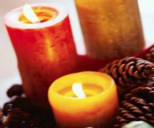 Puzzle Deux grandes bougies brûlant de Noël