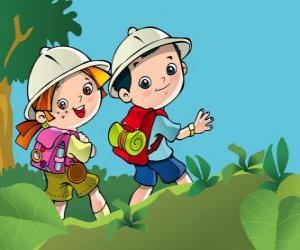 Puzzle Deux jeunes explorateurs à une expédition