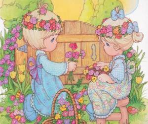 Puzzle Deux jeunes filles recueillent les fleurs. Precious Moments