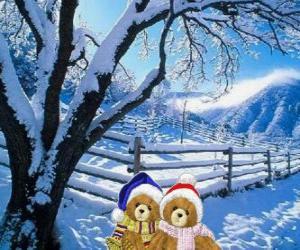 Puzzle deux ours très chaud dans un paysage de Noël