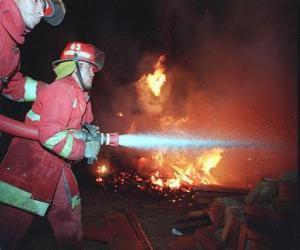 Puzzle Deux pompiers en action