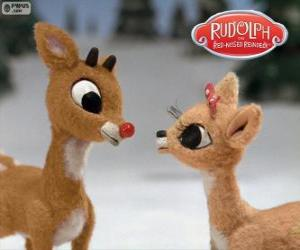 Puzzle Deux rennes jeunes Rodolphe et Fireball