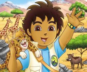 Puzzle Diego et Bébé Jaguar aider les animaux en danger dans la série Go Diego!