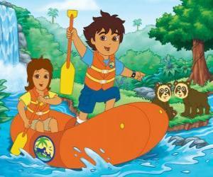 Puzzle Diego et sa mère dans un canot pneumatique