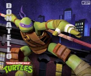 Puzzle Donatello, l'arme de cette tortue ninja est le long bâton japonais Bo