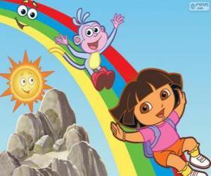 Puzzle Dora, Babouche et l'Arco iris