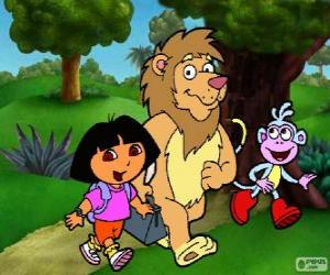 dora babouche et le lion dans le parc - Dora Babouche