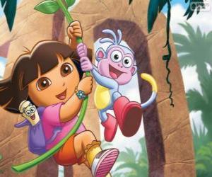 Puzzle Dora et Babouche dans l'une de ses aventures