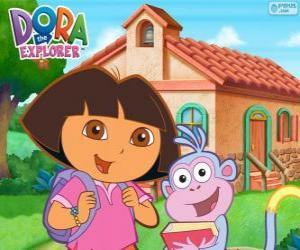 Puzzle Dora et Babouche vont à l'école