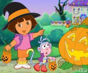 Puzzle Dora et le singe Babouche célébrer Halloween