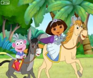 Puzzle Dora et son singe Babouche sur un cheval