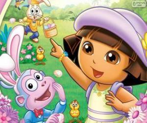 Puzzle Dora l'exploratrice à Pâques