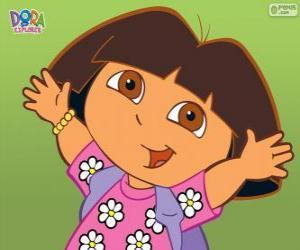 Puzzle Dora l'exploratrice, avec une chemise à fleurs