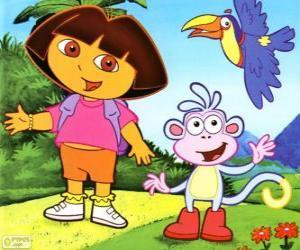 Puzzle Dora l'exploratrice et son ami singe Babouche