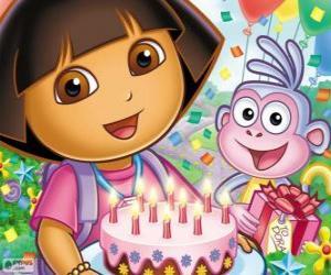 Puzzle Dora l'exploratrice fête son anniversaire
