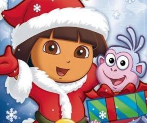 Puzzle Dora l'exploratrice vous souhaitant un Joyeux Noël