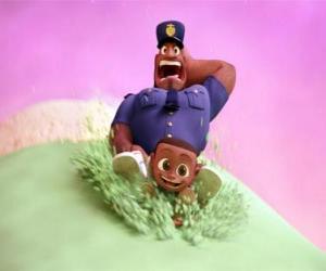 Puzzle Earl Devereaux, le policier et son fils Cal sur une boule de crème glacée