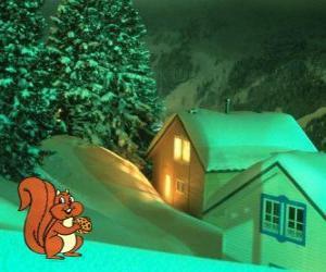 Puzzle Écureuil mangeant des écrous pour le réveillon de Noël