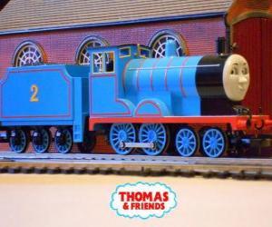 Puzzle Edward, la locomotive en bleu a le numéro 2