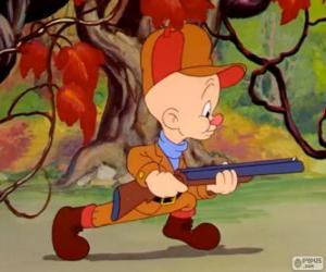 Puzzle Elmer Fudd, le chasseur qui tente de traquer Bugs Bunny