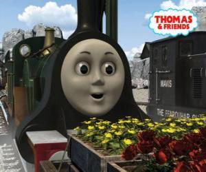 Puzzle Emilie, la locomotive vert émeraude est le membre le plus récent de l'équipe des locomotives à vapeur