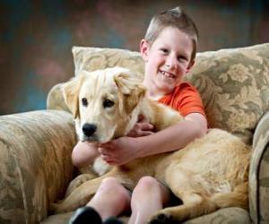 Puzzle Enfant avec son chien